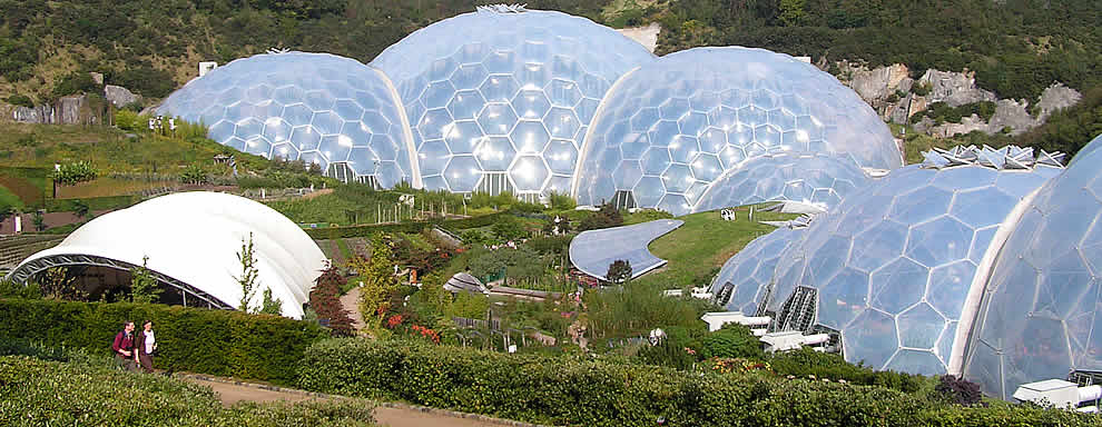 The famous biomes at the Eden Project